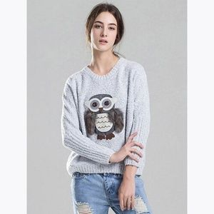 3/$20 Gray Owl Dolman Slouchy Pullover Sweater D5